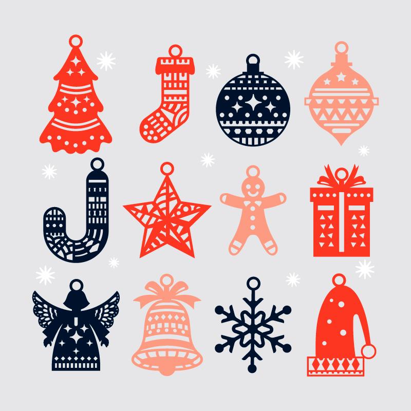 十二个手绘风格圣诞元素矢量素材(AI/EPS/免扣PNG)