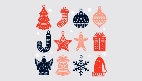 十二个手绘风格圣诞元素矢量素材(AI/EPS/PNG)