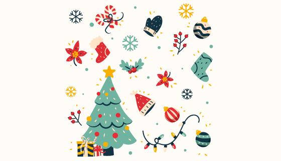 手绘可爱的圣诞元素矢量素材(AI/EPS/PNG)