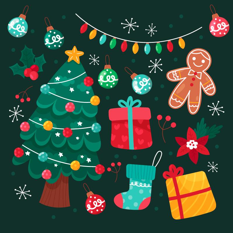 手绘风格的圣诞元素矢量素材(AI/EPS/免扣PNG)