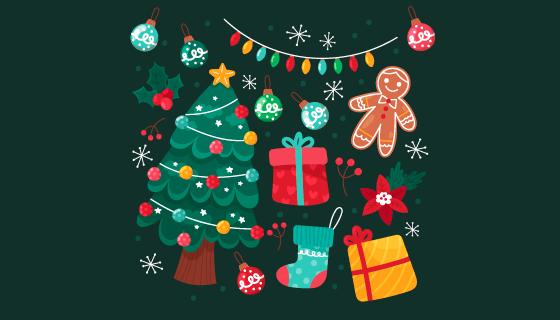 手绘风格的圣诞元素矢量素材(AI/EPS/PNG)