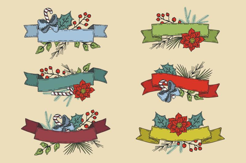 六个手绘风格圣诞彩带矢量素材(AI/EPS/免扣PNG)