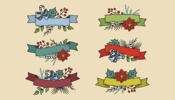 六个手绘风格圣诞彩带矢量素材(AI/EPS/PNG)