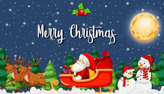 驾着雪橇送礼物的圣诞老人矢量素材(EPS)