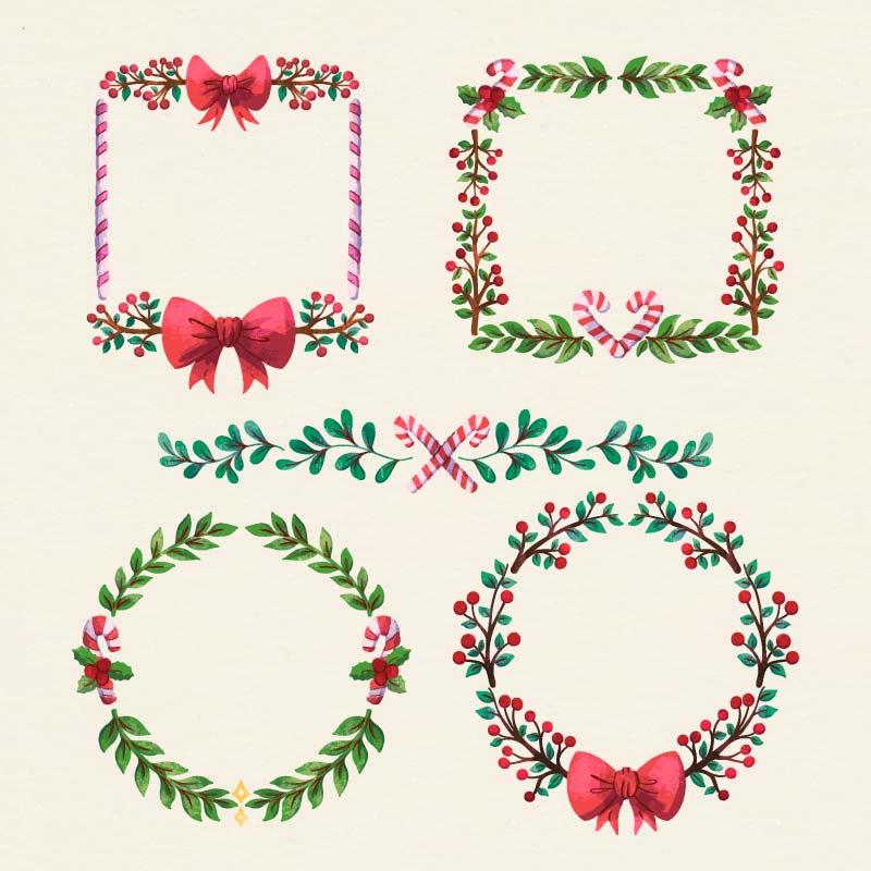 四个水彩风格的圣诞花环矢量素材(AI/EPS)