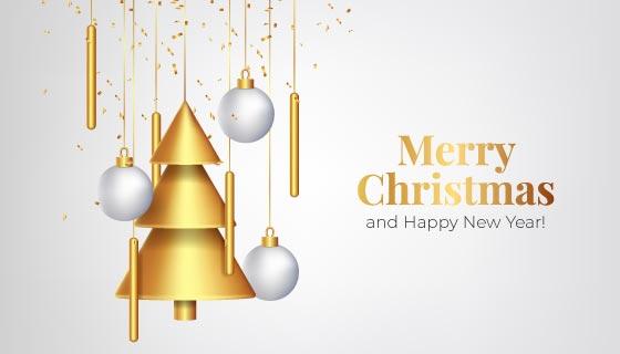 金色挂饰设计圣诞节背景矢量素材(AI/EPS)