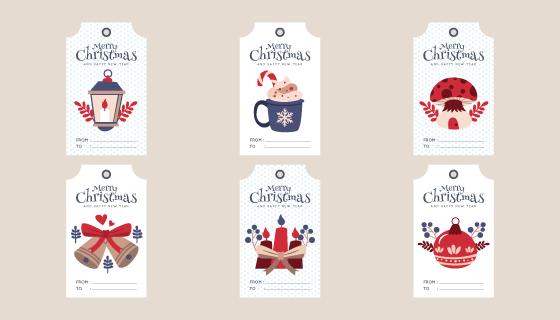 六个圣诞节促销标签矢量素材(AI/EPS/PNG)