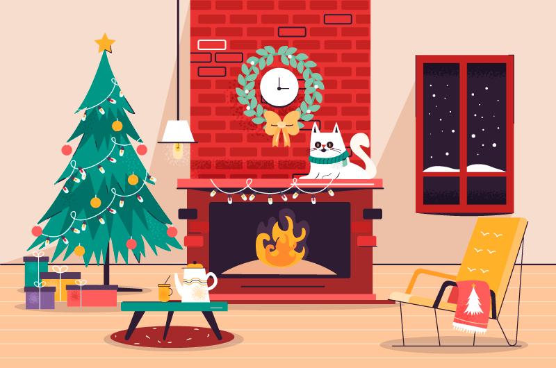 温馨的圣诞壁炉场景矢量素材(AI/EPS)