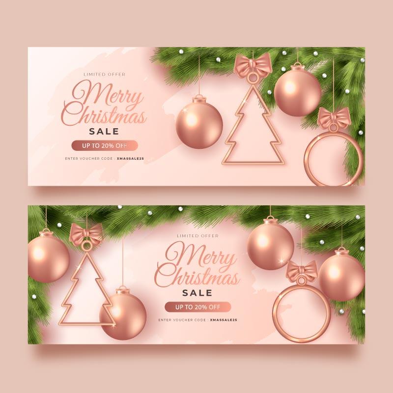 圣诞球设计圣诞节促销banner矢量素材(AI/EPS)