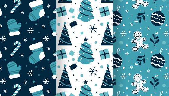 三幅圣诞元素无缝背景矢量素材(AI/EPS)