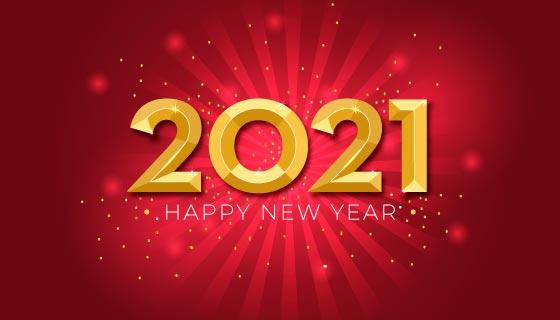 金色闪耀的2021新年快乐背景矢量素材(AI/EPS)