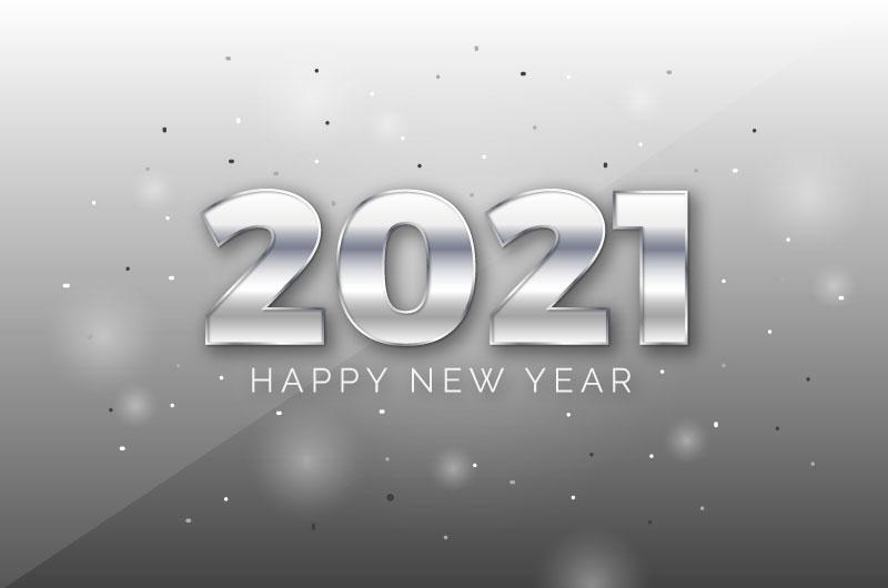 银色质感的2021新年快乐背景矢量素材(AI/EPS)