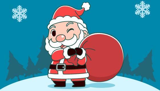 扛着袋子的圣诞老人矢量素材(EPS)