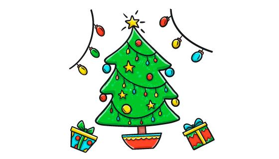 手绘风格简单的圣诞树矢量素材(AI/EPS/PNG)