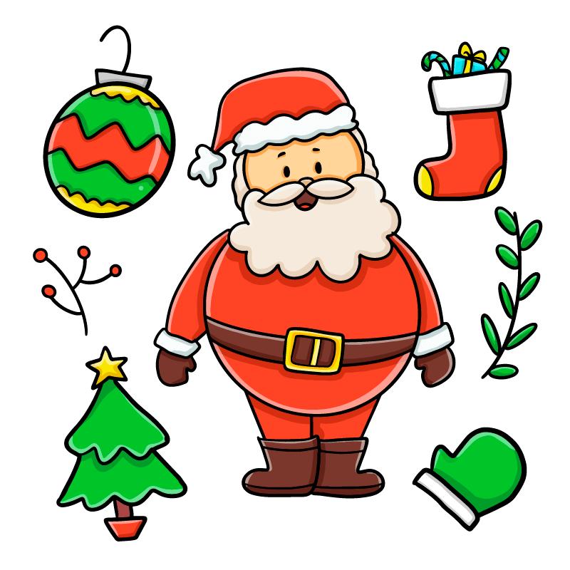 手绘风格的圣诞老人矢量素材(AI/EPS/免扣PNG)