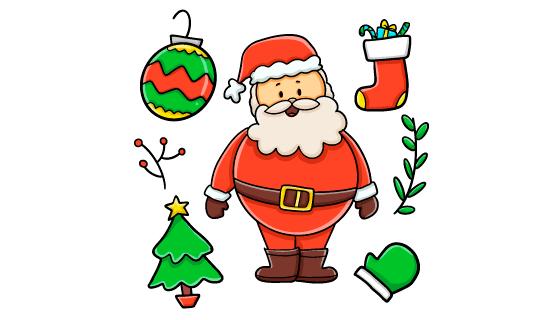 手绘风格的圣诞老人矢量素材(AI/EPS/PNG)