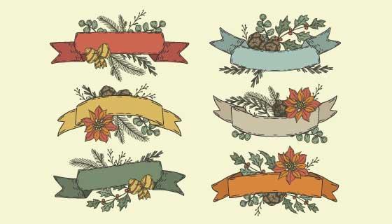 六个手绘风格的圣诞彩带矢量素材(AI/EPS/PNG)