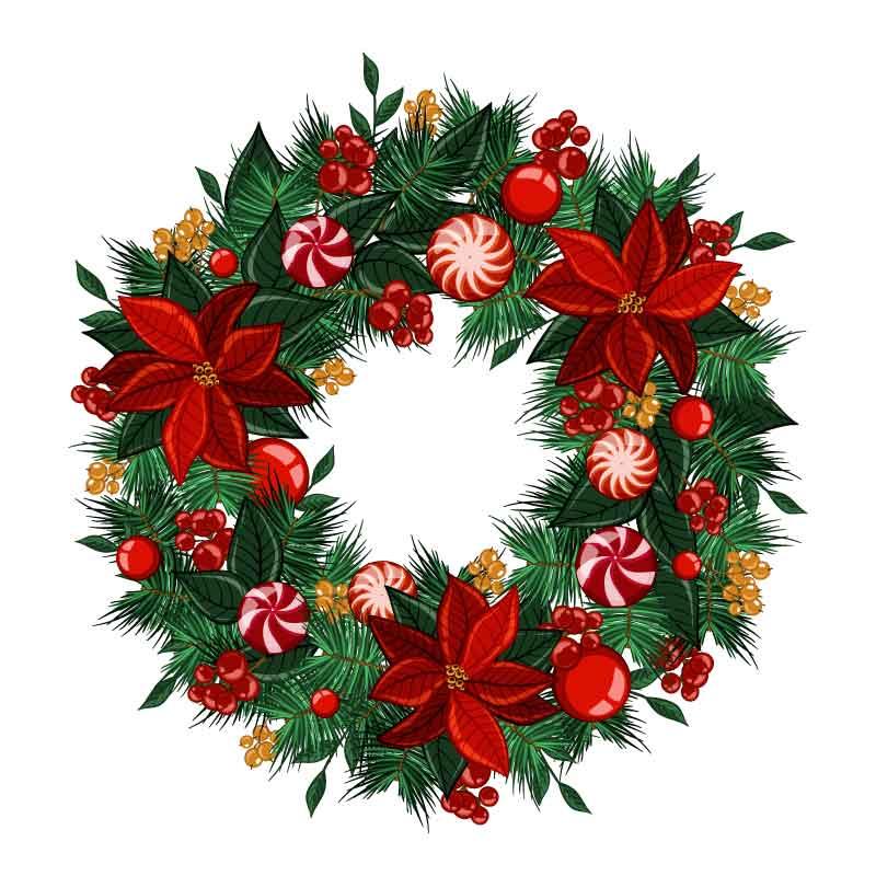漂亮的圣诞花环矢量素材(AI/EPS/免扣PNG)