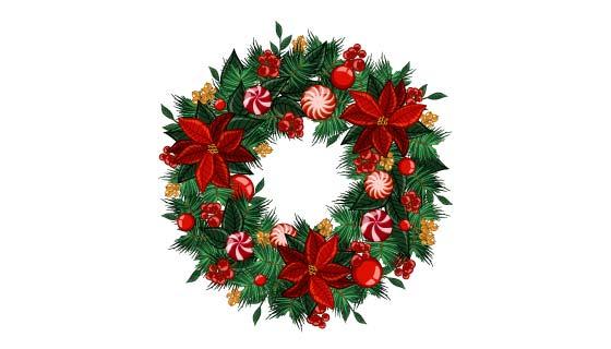 漂亮的圣诞花环矢量素材(AI/EPS/PNG)