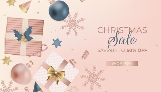 逼真的礼物设计圣诞节促销背景矢量素材(AI/EPS)