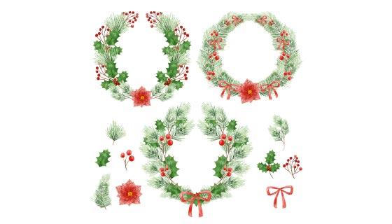 水彩风格圣诞花环集合矢量素材(AI/EPS/PNG)