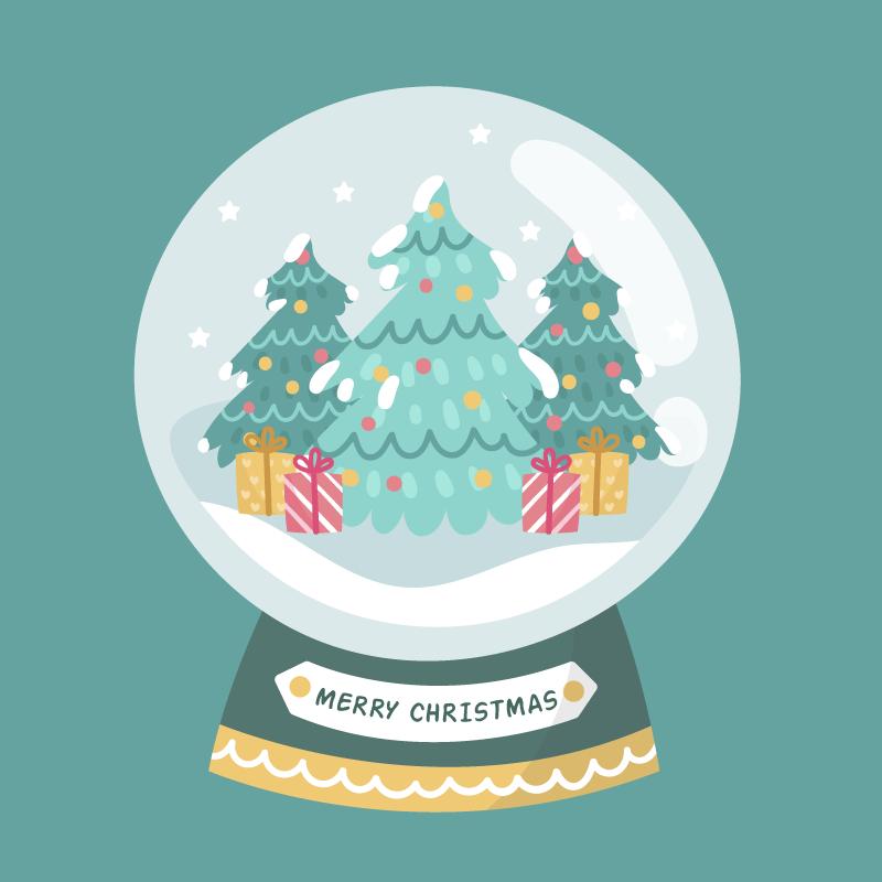 扁平风格的圣诞水晶球矢量素材(AI/EPS)