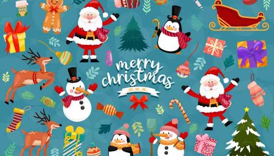 各种圣诞元素图案组成的圣诞节背景矢量素材(EPS)