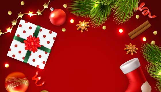 逼真的圣诞元素组成的圣诞背景矢量素材(EPS)