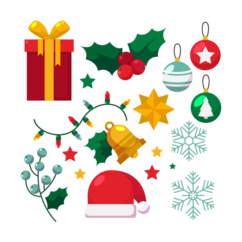 扁平风格的圣诞元素矢量素材(AI/EPS/免扣PNG)