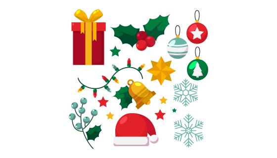 扁平风格的圣诞元素矢量素材(AI/EPS/PNG)