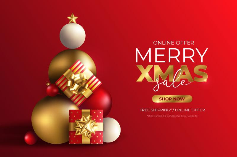 圣诞球和圣诞礼物设计的圣诞促销背景矢量素材(EPS)