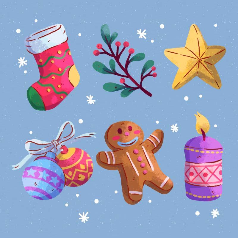 六个水彩风格的圣诞元素矢量素材(AI/EPS/免扣PNG)