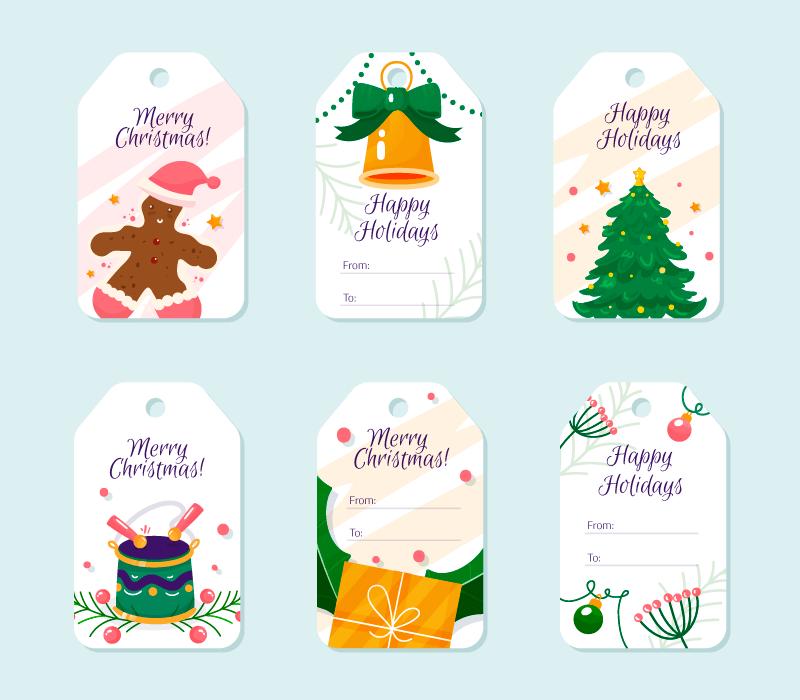 六个圣诞节促销标签矢量素材(AI/EPS/免扣PNG)