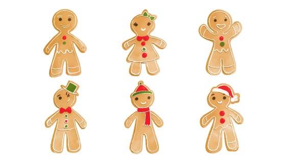 六个可爱的圣诞姜饼人矢量素材(AI/EPS/PNG)