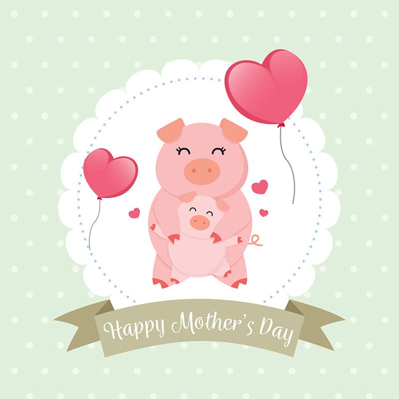 开心的猪母亲节背景矢量素材(EPS/AI)