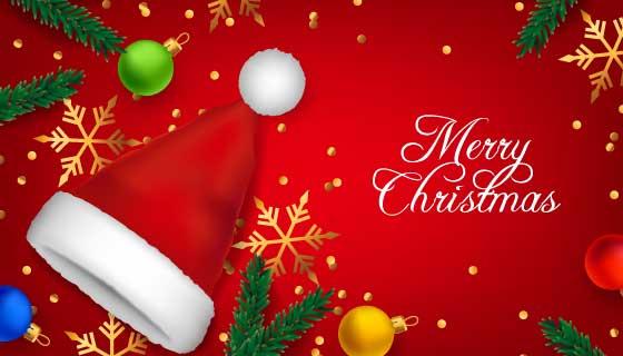 圣诞老人帽设计圣诞节背景矢量素材(AI/EPS)