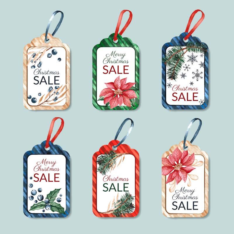 六个水彩风格的圣诞促销标签矢量素材(AI/EPS/免扣PNG)