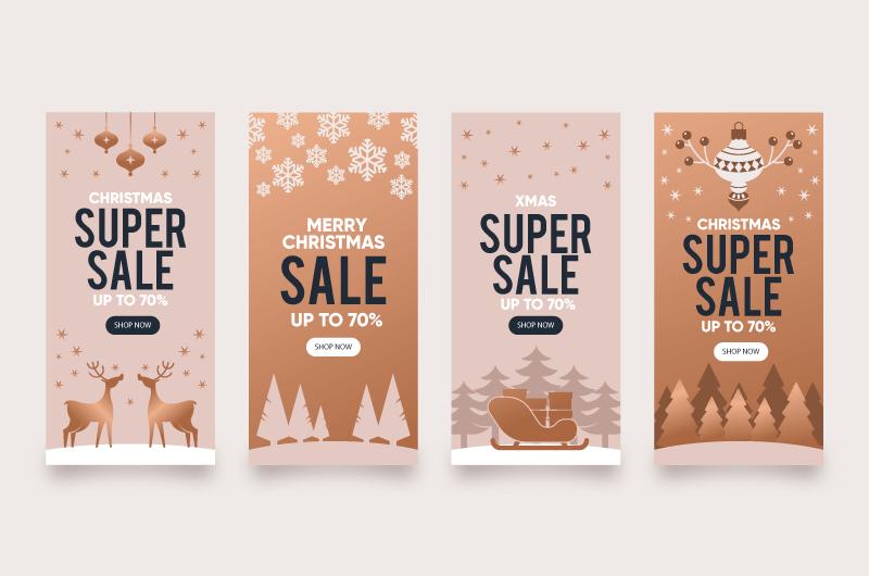 四张扁平风格的圣诞促销封面矢量素材(AI/EPS)