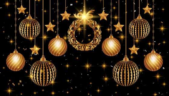 金色装饰设计圣诞节背景矢量素材(EPS)