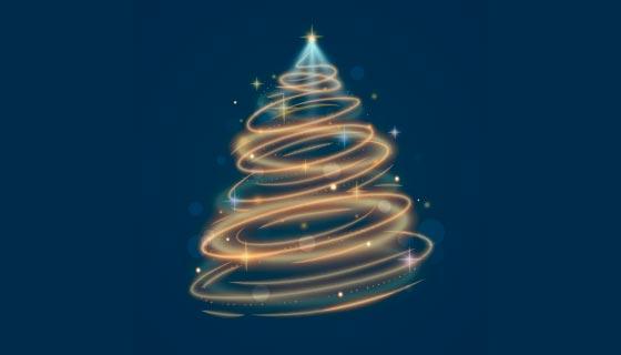 优雅光线设计的圣诞树矢量素材(AI/EPS)