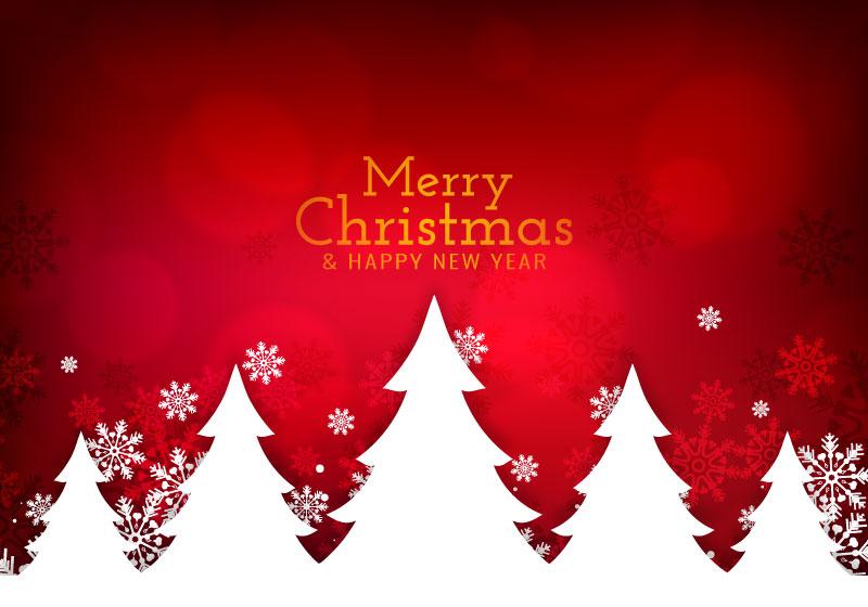 圣诞树和雪花设计圣诞节快乐背景矢量素材(EPS)