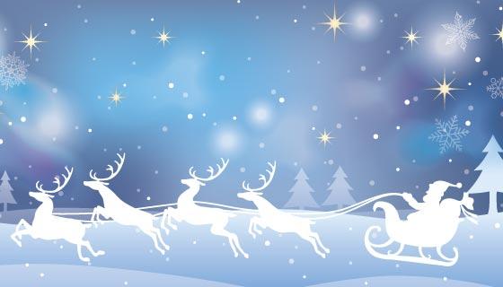 蓝色梦幻圣诞节背景矢量素材(EPS)