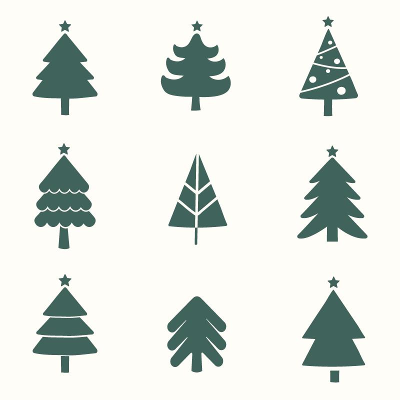九个简单的圣诞树图标矢量素材(EPS)