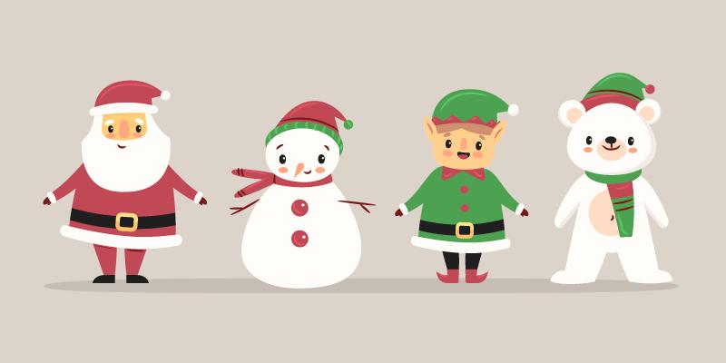 四位可爱的圣诞人物矢量素材(AI/EPS/免扣PNG)