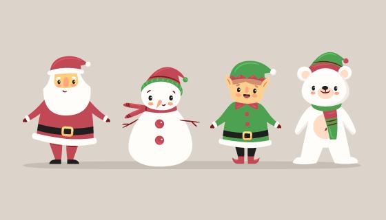 四位可爱的圣诞人物矢量素材(AI/EPS/PNG)