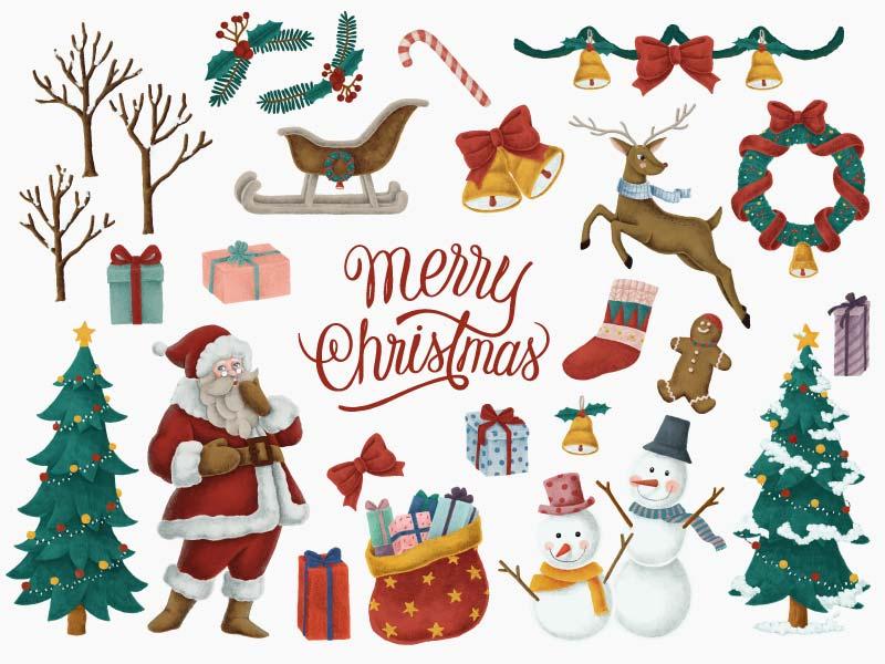 各种各样的圣诞节元素集合矢量素材(EPS/免扣PNG)