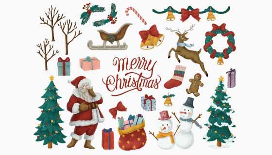 各种各样的圣诞节元素集合矢量素材(EPS/PNG)