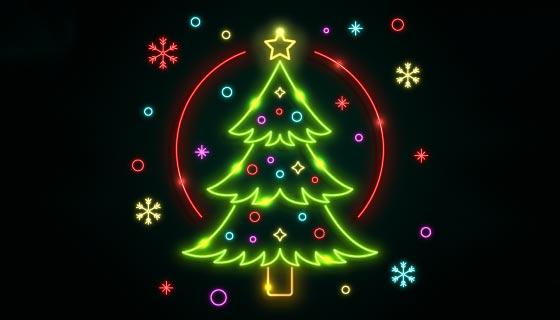 绿色闪亮的霓虹灯圣诞树矢量素材(AI/EPS)
