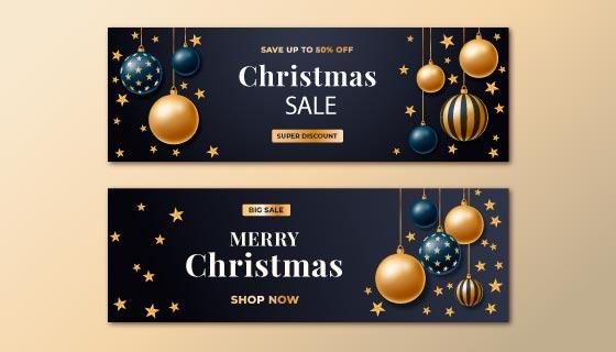 金色圣诞球和星星设计圣诞节banner矢量素材(AI/EPS)