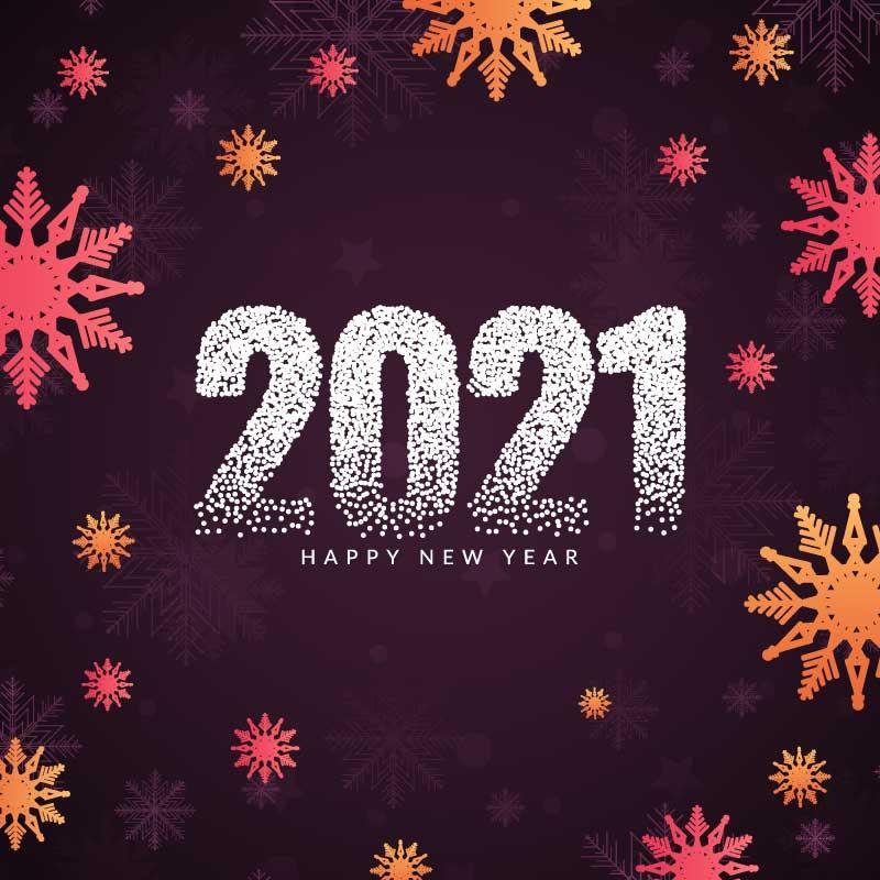 时尚美丽的雪花设计2021新年快乐矢量素材(EPS)
